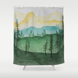 Mountains and Trees Shower Curtain