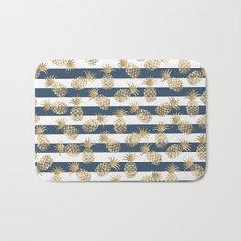 Modern nautical navy blue stripes faux gold pineapple Bath Mat