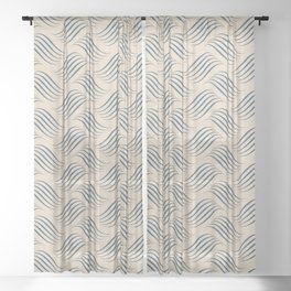 Blue & Beige Wavy Tessellation Line Pairs To 2020 Color of the Year Chinese Porcelain PPG1160-6 Sheer Curtain