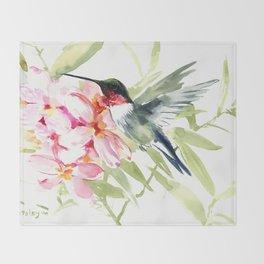 Hummingbird and Plumerias Throw Blanket
