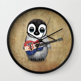 Baby Penguin Playing Croatian Flag Guitar Wall Clock