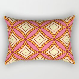 Kitschy Mid Century Pattern in Pink and Yellow Rectangular Pillow