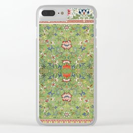 Asian Floral Pattern in Jade Green Antique Illustration Clear iPhone Case