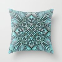 snowflake Throw Pillows featuring Snowflake by Lyle Hatch