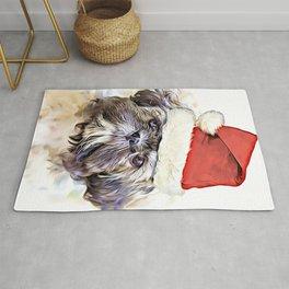Christmas Shih Tzu puppy Rug
