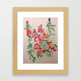 Blind Contour Snapdragon Framed Art Print