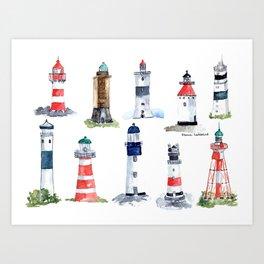Swedish lighthouses Art Print