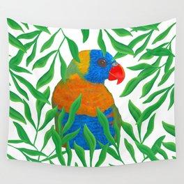 Rainbow Lorikeet in Leaves Wall Tapestry