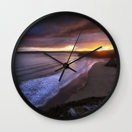 Gower sunset at Three Cliffs Bay Wall Clock