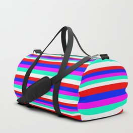 Colored Stripes - Fire Red Royal Blue Pink Mint White Duffle Bag