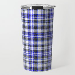 Blue White and Black Fuzzy Tartan Pattern Travel Mug