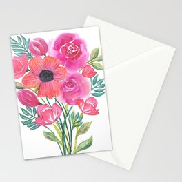 Pink Bouquet on White Stationery Cards