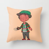 freddy krueger Throw Pillows featuring Horror Hipsters - Freddy Krueger by Duddy In Motion