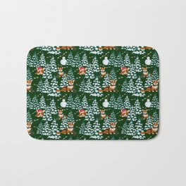 Corgis in the winter mountains - green pattern Bath Mat