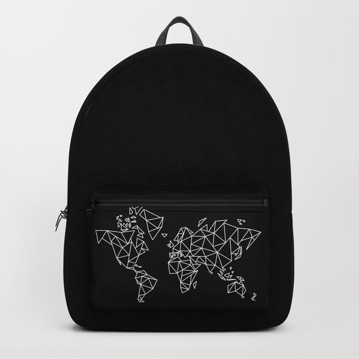 White on Black Geometric Low Poly Map of The World / Polygon geometry Backpack