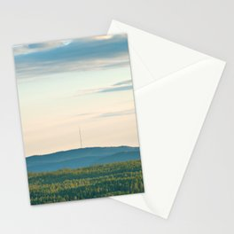 Pink Skies, Blue Hills and Golden Trees Stationery Cards