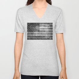 Black and White USA Flag in Grunge Unisex V-Neck