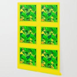 YELLOW GREEN & GOLD TROPICAL  GREEN FOLIAGE ART Wallpaper