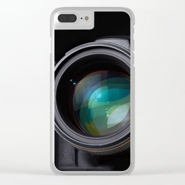 DSLR camera on black Clear iPhone Case