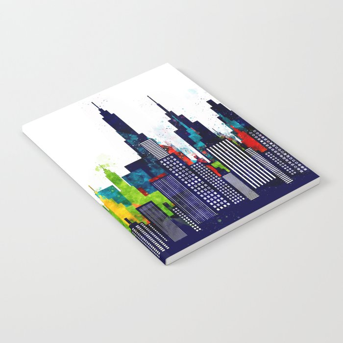 Colorful City Buildings And Skyscrapers In Watercolor, New York Skyline, Wall Art Poster Decor, NYC Notebook