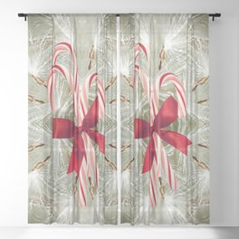 Candy Canes Sheer Curtain
