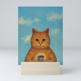 Every Cat need a Home. Ginger Cat Illustration Mini Art Print