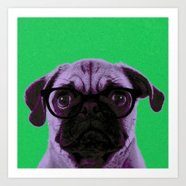 Geek Pug with Glasses in Green Background Art Print