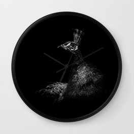 Peacock in Monochrome Wall Clock