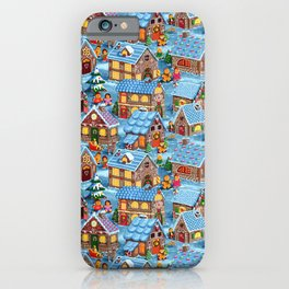 Gingerbread Village on Christmas Eve iPhone Case