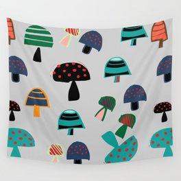 Cute Mushroom gray Wall Tapestry