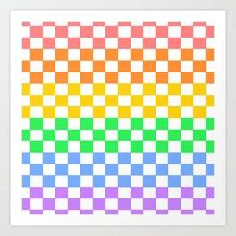 Rainbow Checkers Art Print