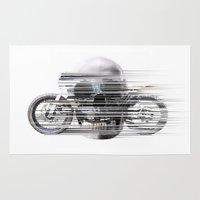 cafe racer Area & Throw Rugs featuring SKULL AND CAFE RACER by Joedunnz