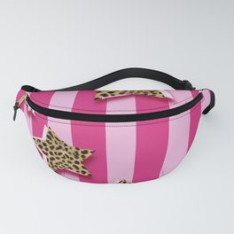 Pink Stripes With Cheetah Fur Stars Fanny Pack