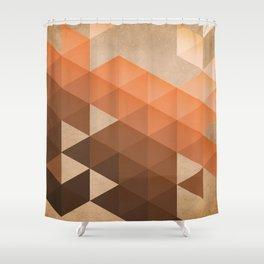 Warm Brown  -  Geometric Triangle Pattern Shower Curtain