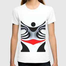 Black White and Red Geometric Abstract T-shirt