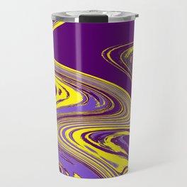 Purple and Yellow Fluid Painting Travel Mug