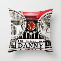 danny ivan Throw Pillows featuring MG Danny by Catherine Doolan
