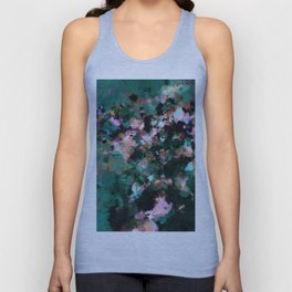 Contemporary Abstract Wall Art in Green / Teal Color Unisex Tank Top