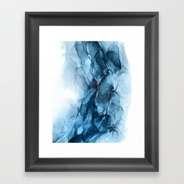 Deep Blue Flowing Water Abstract Painting Framed Art Print
