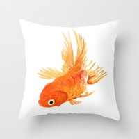 goldfish Throw Pillows featuring Goldfish by Ty Foley
