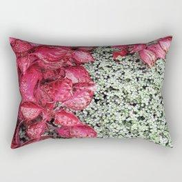 Pink Leaves on Green Carpet Rectangular Pillow