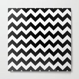 Chevron (Black/White) Metal Print