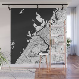 Dubai City Map Gray Wall Mural