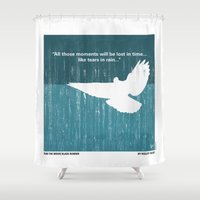 cyberpunk Shower Curtains featuring No011 My Blade Runner minimal movie poster by Chungkong