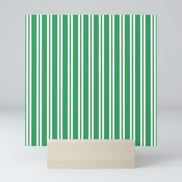 Kelly Green and White Wide Small Wide Stripes Mini Art Print
