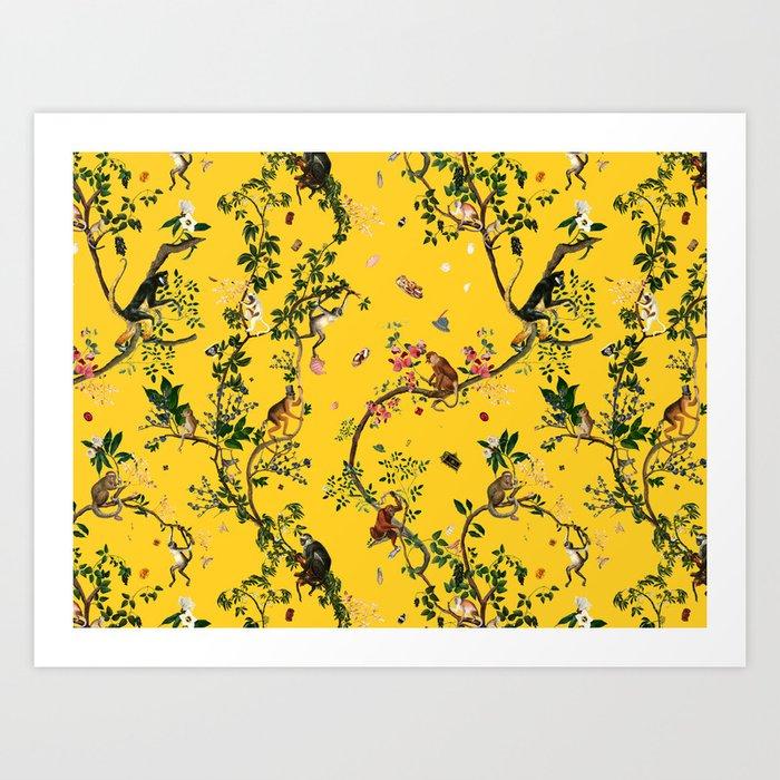 Monkey World Yellow Kunstdrucke