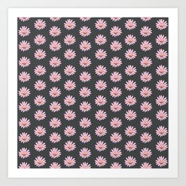 Modern gray blush pink girly daisies floral pattern Art Print