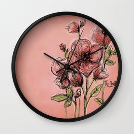 Poppies on rose Wall Clock