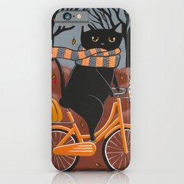 Black Cat Autumn Bicycle Ride iPhone Case
