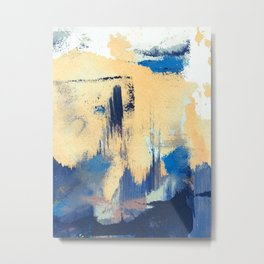 Lemon drop: a minimal, abstract mixed-media piece in yellow and blue Metal Print